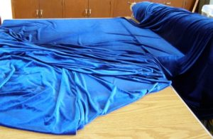 Blue fabric for table skirt