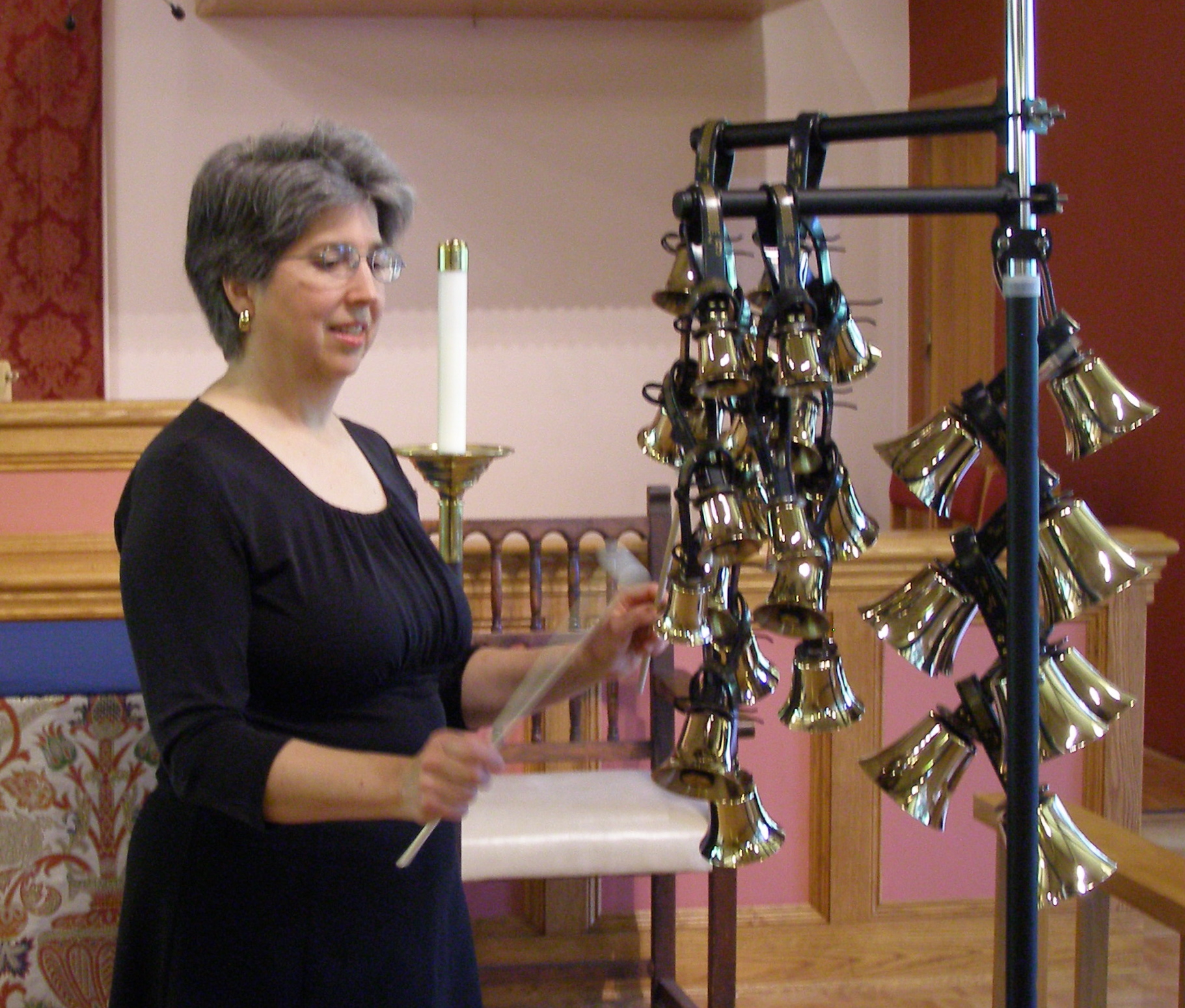 Nancy playing a solo on bell trees (St. Dunstan's Episcopal Church, Shoreline)
